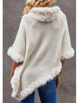 White Asymmetric Hem Three Quarter Sleeve Sweater