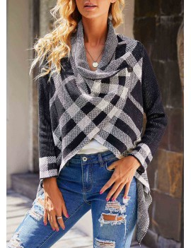 Plaid Pattern Long Sleeve Asymmetric Hem Sweater