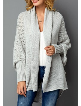 Open Front Light Grey Long Sleeve Cardigan