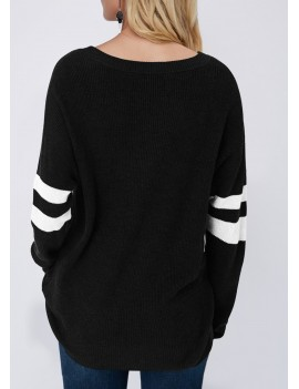 Button Detail Contrast Panel Pullover Sweater