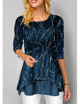 Blue Long Sleeve Round Neck T Shirt
