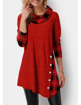 Asymmetric Hem Plaid Print Button Detail T Shirt