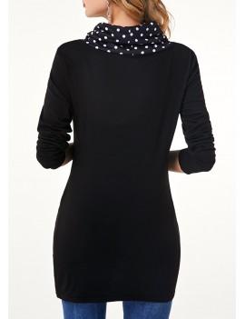 Black Long Sleeve Button Detail T Shirt