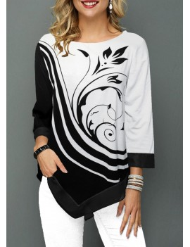 Asymmetric Hem Flower Print Three Quarter Sleeve T Shirt