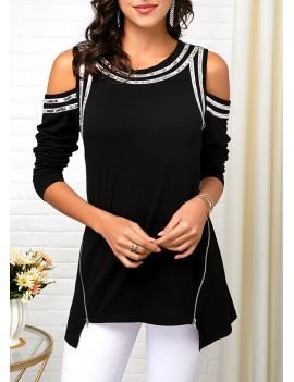 Asymmetric Hem Cold Shoulder Zipper Detail T Shirt