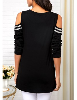 Asymmetric Hem Cold Shoulder Zipper Detail T Shirt