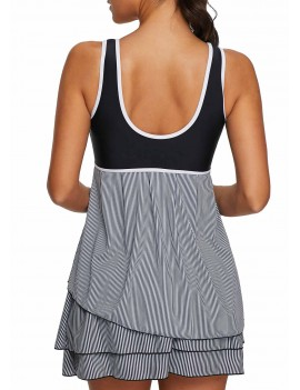 Contrast Piping Scoop Back Layered Swimdress and Shorts