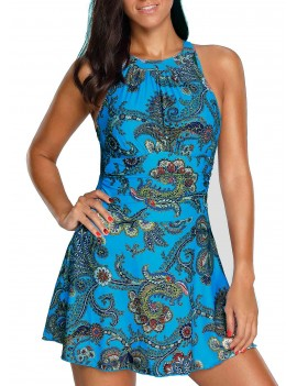 Blue H Back Printed One Piece Swimdress