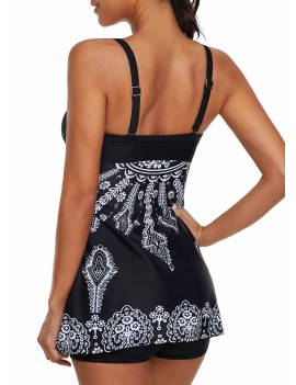 Twist Front Printed Swimdress and Shorts