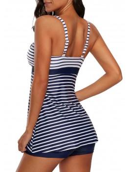 Striped Square Neck Strappy Swimdress and Shorts