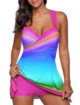 Printed Wrap Front Wide Strap Swimdress and Shorts