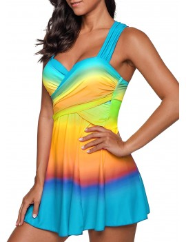 Printed Wrap Front Swimdress and Shorts