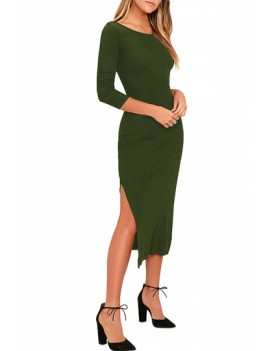 Sexy Split Plain Bodycon Dress Olive