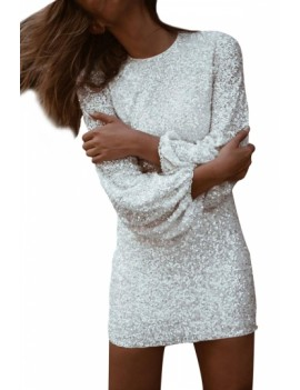 Sexy Lantern Sleeve Sequin Sheath Dress White