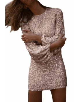Puffy Sleeve Sequin Bodycon Dress Pink