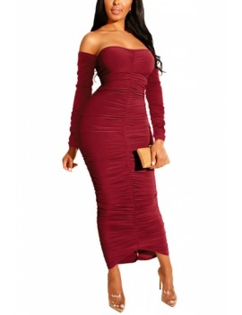 Off Shoulder Bodycon Dress Ruched Ruby