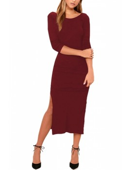 Solid Half Sleeve Midi Dress Ruby