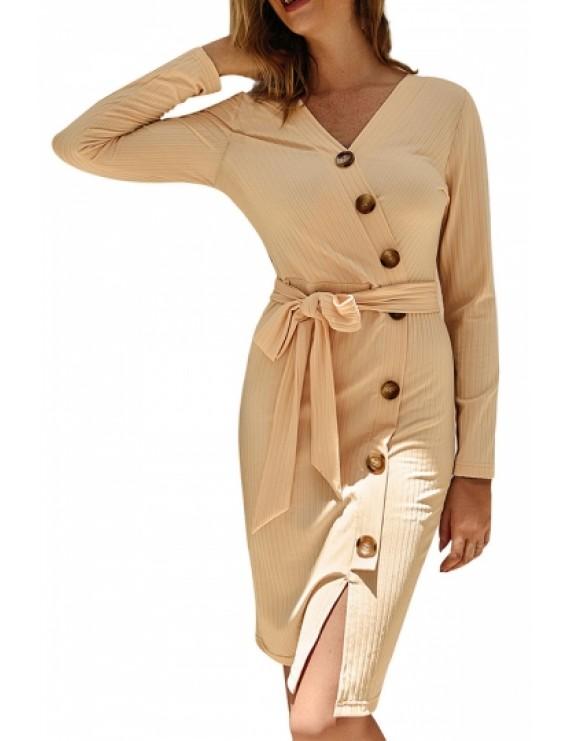 Button Long Sleeve Midi Bodycon Dress Beige White