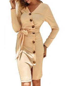 Button Long Sleeve Midi Bodycon Dress Beige White