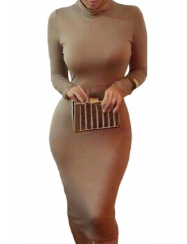 Sexy Bodycon Midi Dress High Neck Coffee