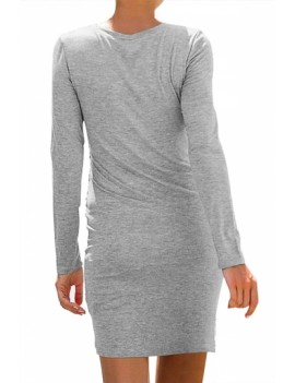 Crew Neck Tulip Hem Bodycon Dress Grey