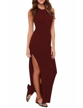 Womens Crew Neck Tank Maxi Dress Ruby