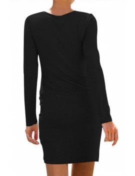 Solid Crew Neck Long Sleeve Dress Black