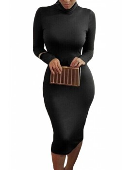 Solid Long Sleeve Sheath Dress Black
