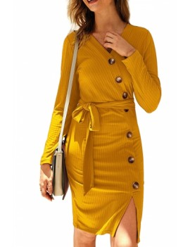 Solid V Neck Bodycon Midi Dress Yellow