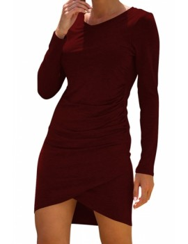 Ruched Long Sleeve Bodycon Dress Ruby
