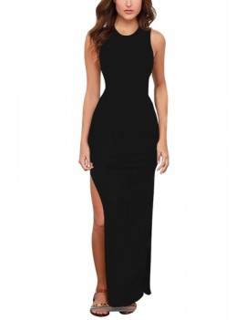 Solid Vacation Dress High Split Black