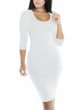 Sexy Plain 3/4 Sleeve Bodycon Dress White