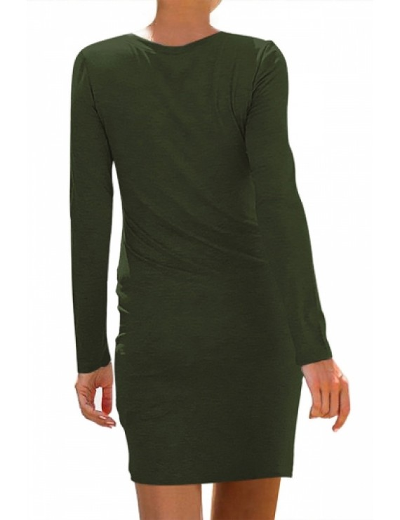 Casual Pleated Bodycon Dress Olive