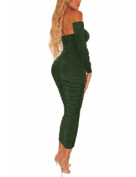 Solid Bodycon Dress Ruched Olive
