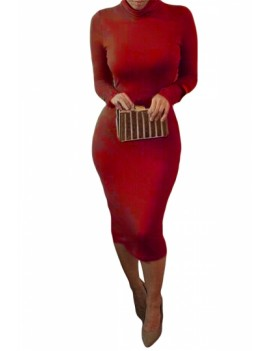 Turtleneck Bodycon Dress Long Sleeve Red