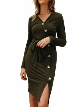 Long Sleeve Button Slit Midi Dress Olive