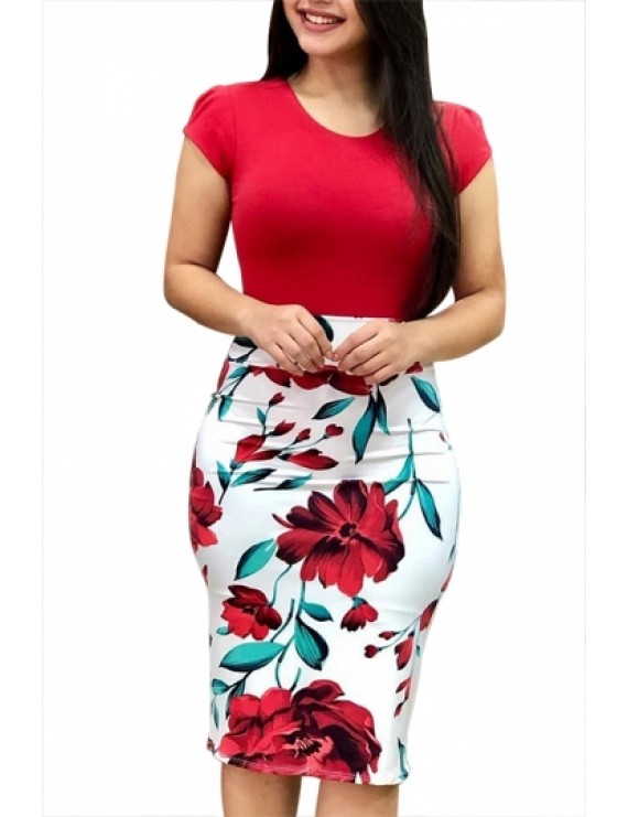 Floral Bodycon Dress Short Sleeve Red
