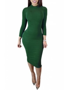 Sexy Plain Club Dress High Neck Green