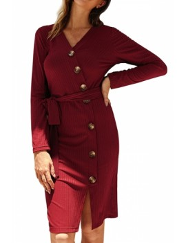 V Neck Long Sleeve Bodycon Dress With Tie Ruby
