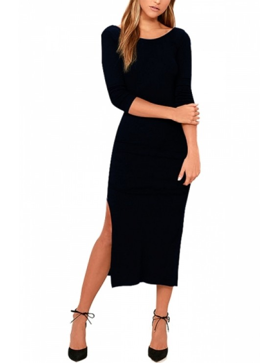 Backless Half Sleeve Bodycon Dress Black