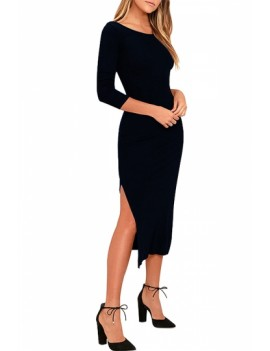 Backless Half Sleeve Bodycon Dress Black