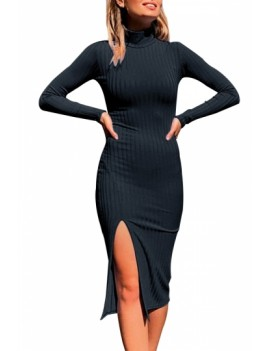 Sexy Long Sleeve Slit Turtleneck Dress Black