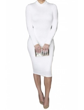 Long Sleeve Bodycon Dress Turtleneck White