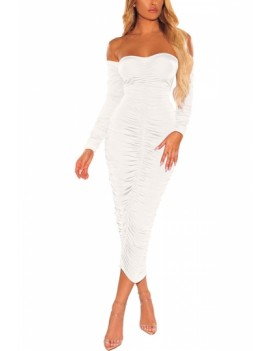 Sexy Ruched Club Dress Backless White