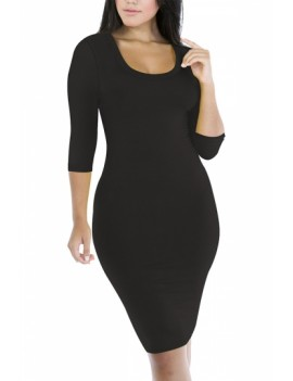 3/4 Sleeve Scoop Neck Bodycon Dress Black