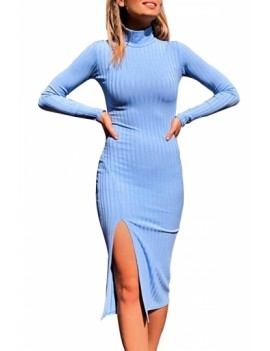 Solid Turtleneck Bodycon Dress Light Blue