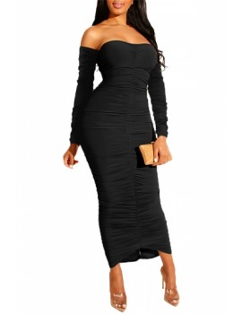 Long Sleeve Club Dress Off Shoulder Black