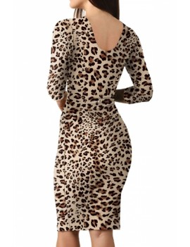 Scoop Neck Leopard Bodycon Dress Brown