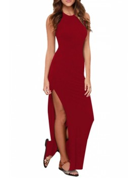 Sleeveless Bodycon Dress High Split Red