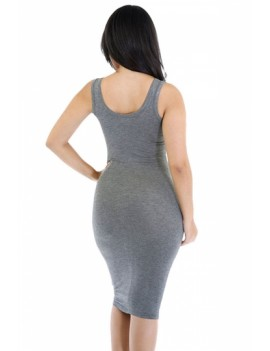 Women Scoop Neck Midi Casual Bodycon Tank Dress Gray